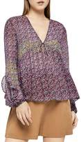 BCBGeneration Color-Block Floral Print Ruffled Top