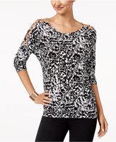 Thalia Sodi Lattice-Detail Top, Created for Macy's