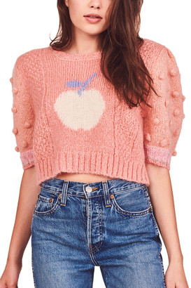 LoveShackFancy Cyrielle Mohair & Wool-Blend Crop Top