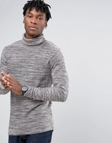 Selected Roll Neck Knit with Mixed Yarn Detail