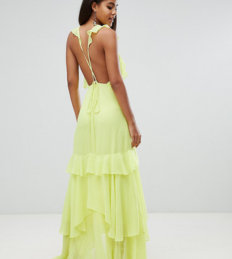 Asos Tall DESIGN Tall ruffle maxi dress with strappy back-Multi