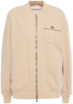 Brunello Cucinelli Bead-embellished Melange Stretch-cotton Jersey Bomber Jacket