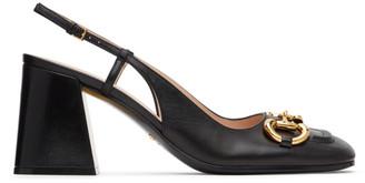 Gucci Black Horsebit Slingback Mid Heels