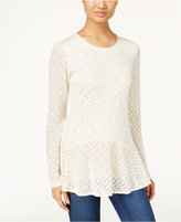 Style&Co. Style & Co. Crochet Peplum Knit Top, Only at Macy's