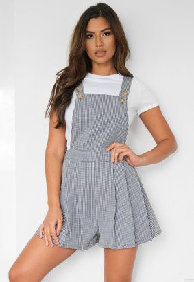 Missguided Black Gingham Check Pinafore Playsuit