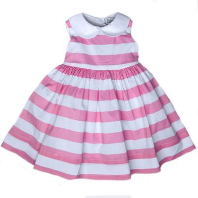 Baby CZ Eliza Dress in Madison Island Pink and White Stripe