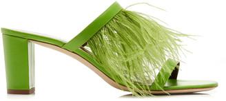 STAUD Franka Feather-Embellished Satin Sandals