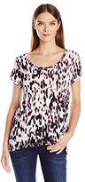 Calvin Klein Jeans Women's Short Sleeve Animal Printed Split Back Crew Neck T-Shirt