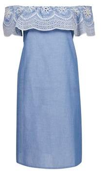 Dorothy Perkins Womens Chambray Broderie Frill Dress, Chambray