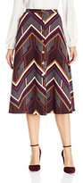 NY Collection Women's Printed Ponte Button Down Front Midi Skirt