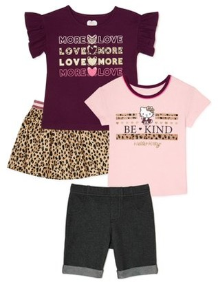 365 Kids From Garanimals Girls Graphic T-Shirts, Bermuda Shorts and Skirt, 4-Piece Outfit Set, Sizes 4-10