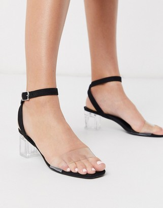 New Look clear low block heeled sandals in black