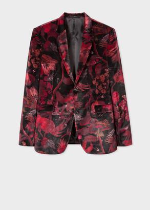 The Kensington - Men's Slim-Fit Red 'Beetle Botanical' Print Velvet Blazer