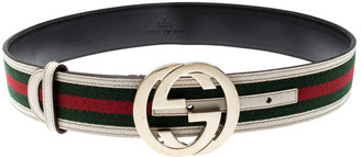 Gucci Multicolor Web Canvas and Leather G Interlocking Belt