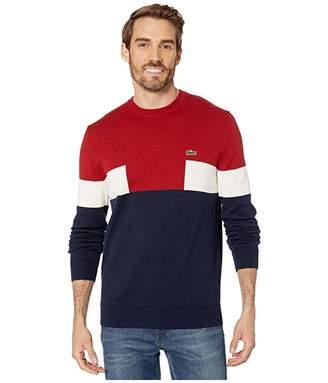 Lacoste Long Sleeve Color Block Cotton Sweater (Navy Blue/Alizarin/Mascarpone) Men's Clothing