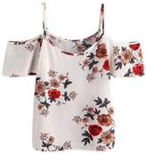 Aribelly Women's Floral Casual Sleeveless Crop Top Vest Tank Shirt Blouse Cami Top (M, )