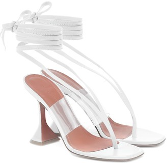 Amina Muaddi Zula PVC-trimmed leather sandals