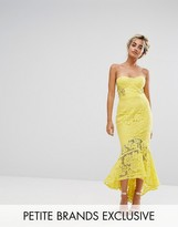 Jarlo Petite Allover Lace Bandeau Midi Dress With Highlow Fishtail