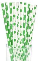 BuySeasons Green/White Dot Paper Straws - 10 count