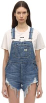 R 13 Frayed Cotton Denim Overalls