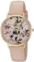 Vince Camuto Women's VC/5348LPLP Floral Pattern Dial Light Pink Leather Strap Watch