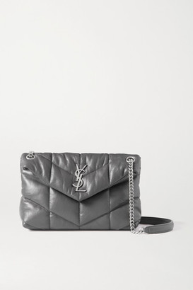Saint Laurent Loulou Puffer Small Quilted Leather Shoulder Bag - Dark gray