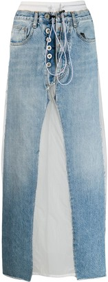 Unravel Project Contrast Patch Jean Skirt
