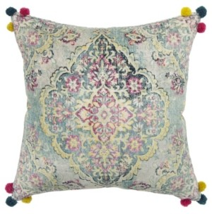 """Rizzy Home Medallion Decorative Pillow Cover, 20"""" x 20"""""""