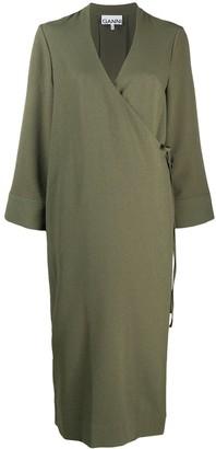 Ganni V-neck midi wrap dress