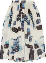 Tibi Oki printed silk and linen-blend skirt