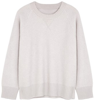 Johnstons of Elgin Georgia light grey reversible cashmere jumper