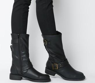 Office Kim Flat Calf Biker Boots Black