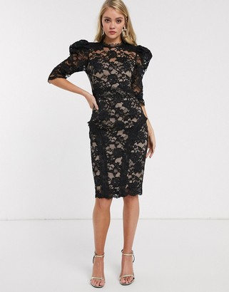 Bronx And Banco & Banco madeleine puff sleeve lace dress-Black