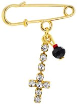 In Season Jewelry 18k Gold Plated Cross Simulated Azabache Evil Eye Protection Baby Pin Brooch