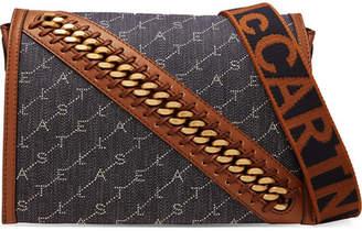 Stella McCartney Embellished Faux Leather-trimmed Denim-jacquard Shoulder Bag - Navy