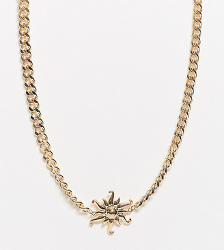 Asos DESIGN Curve necklace with sun pendant and curb chain in gold tone