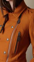 Burberry Leather Trim Wool Twill Biker Jacket