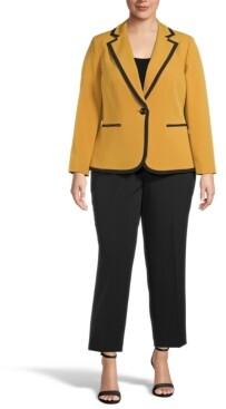 Le Suit Plus Size Contrast-Trim One-Button Pantsuit