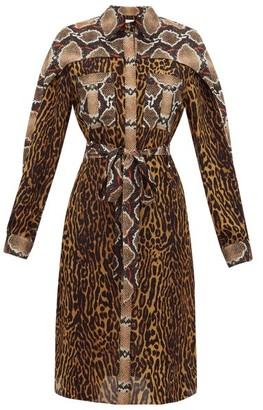 Burberry Costanza Animal-print Silk-crepe Shirtdress - Womens - Brown Print