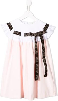 Fendi Kids Ruffle Trim Dress