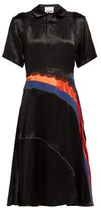 Koché Asymmetric Panelled Lace Embellished Shirtdress - Womens - Black Multi