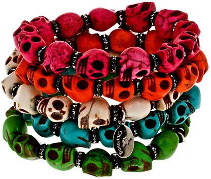 Bee Charming Multicolor Skull Beaded Bracelet