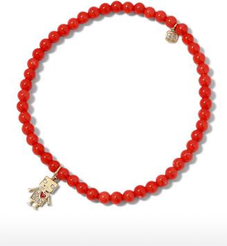 Sydney Evan Diamond Robot Coral Bead Bracelet
