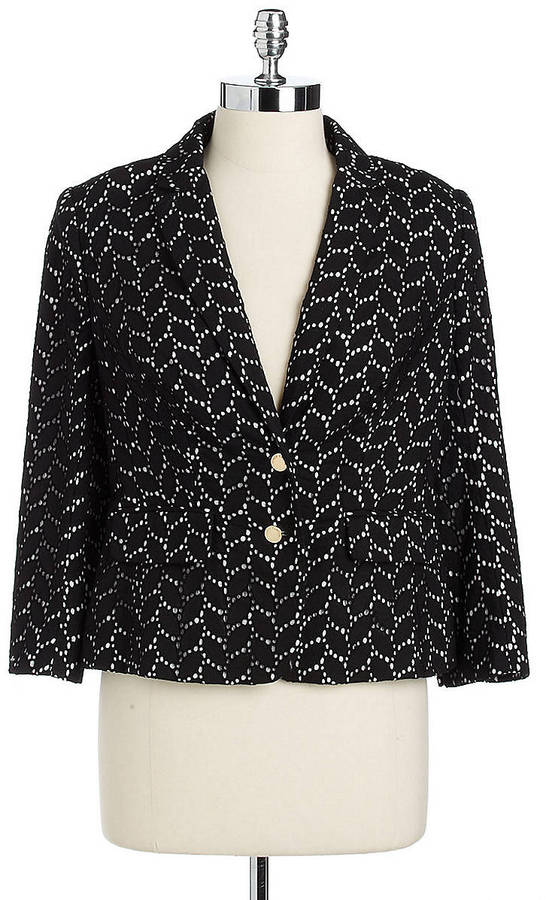 Vince Camuto Two-Button Cotton Eyelet Blazer