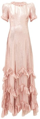 The Vampire's Wife The Sky Rocket Ruffled Metallic Dress - Womens - Pink