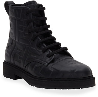 Fendi FF Logo Leather Combat Booties
