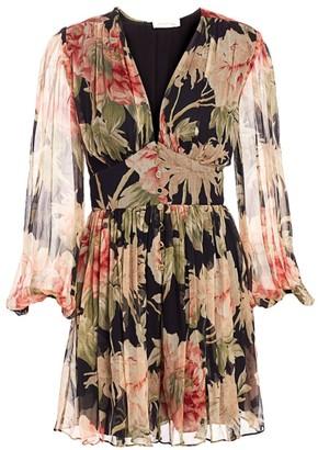 Zimmermann Eye Spy Floral Puff-Sleeve Mini A-Line Dress