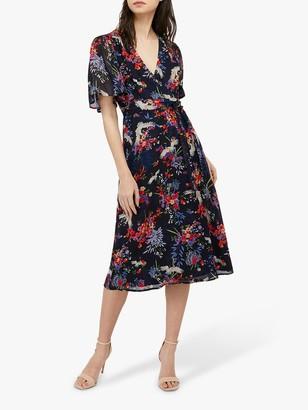 Monsoon Oaklyn Tea Floral Midi Dress, Navy