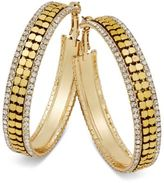 Thalia Sodi Gold-Tone Metal Mesh and Crystal Hoop Earrings, Only at Macy's