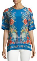 Roberto Cavalli Enchanted Garden Silk Tee, Blue